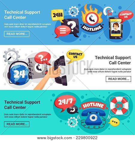 Technical Customer Support Call Center 24h Online Service 3 Horizontal Background Banners Webpage De