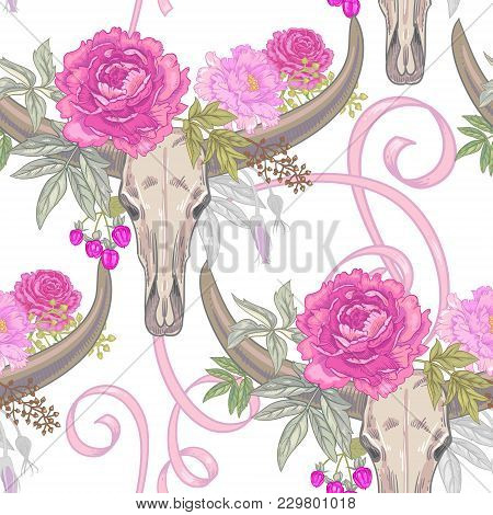 Vector Background With The Image Of Garden Flowers Peony, Roses, Ornamental Grasses, Berries, Ribbon