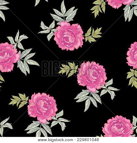 Vector Background With The Image Of Garden Flowers Peony. Seamless Pattern. Victorian Style. Vintage