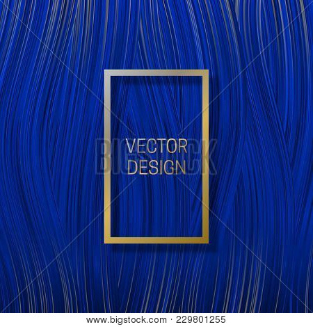 Rectangular Frame On Saturated Blue Background. Trendy Packaging Design Or Cover Template.