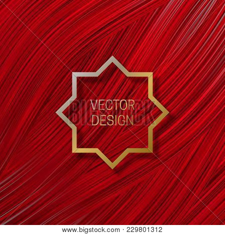 Eight-pointed Frame On Saturated Red Background. Trendy Packaging Design Or Cover Template.