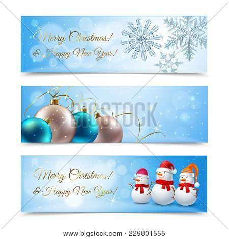 Christmas Set Of Horizontal Banners With Greetings, Snowflakes, Balls, Snowmen Companions On Blue Ba