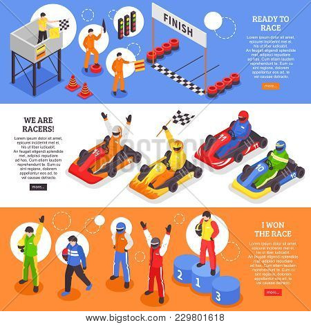 Isometric Carting Horizontal Banners Set With Human Characters Of Cart Racers With Carts Helmets And