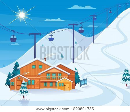 Winter Skiing Resort With Snow Hotel And Ski Lifts Flat Vector Illustration