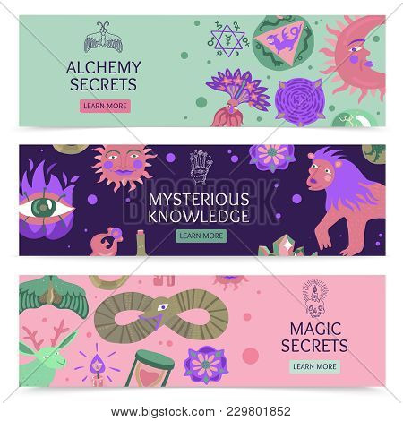 Magic And Alchemy Secrets And Mysterious Knowledge Horizontal Banners With Sacred Symbols And Mystic