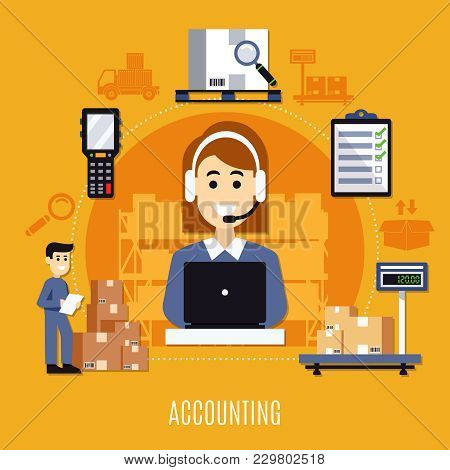 Warehouse Flat Colored Composition With Accounting Description And Steps Of This Work Vector Illustr
