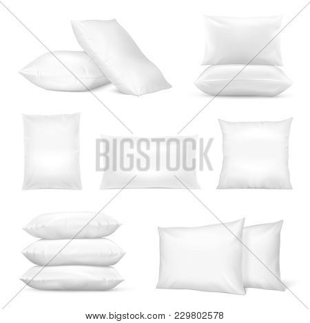 Realistic White Square And Rectangular Pillows Set With Natural And Synthetic Cotton Mix Fiberfill I