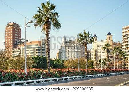 Valencia, Spain - February 24, 2018: The Bridge Of Flowers In The Turia Gardens
