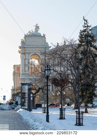 Odessa, Ukraine - March 5, 2018: Odessa National Academic Theater Of Opera And Ballet Is The Oldest