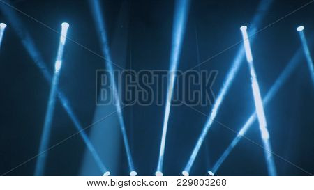 Concert Lighting Against A Dark Background Ilustration. Spotlight On Stage. Free Stage With Lights,