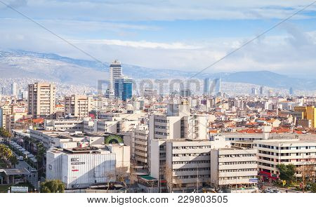Izmir, Turkey - February 12, 2015: Panorama Of Izmir City. Modern Buildings And Mountains On A Horiz