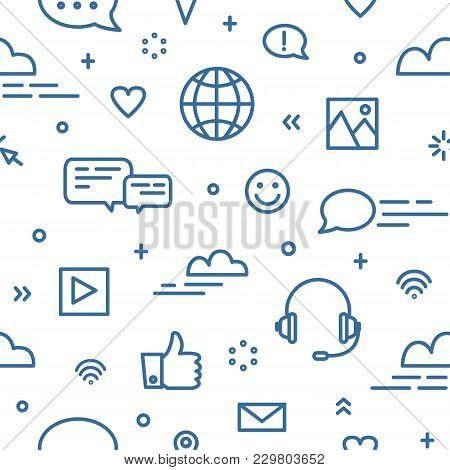 Seamless Pattern With Social Media And Networking, Global Internet Communication, Chatting And Insta