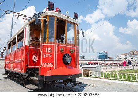 Istanbul, Turkey - July 1, 2016: Traditional Red Tram Close Up Photo. Popular Public And Touristic T