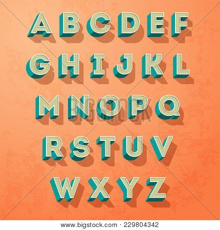 Vector Alphabet Letters Retro Colour Style, Letters Designe, On A Grunge Background