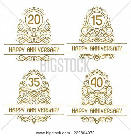Set Of Golden Anniversary Vintage Emblems For Fifteen, Twenty, Thirty Five, Forty Years.