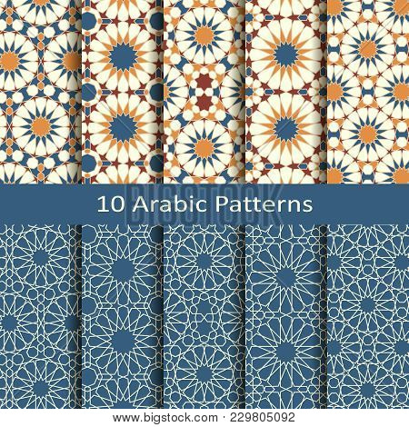 Vector Set Of Ten Seamless Traditional Arabic Geometric Star Patterns. Design For Covers, Textile, P