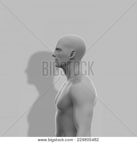 One Man, Naked To The Waist, Stands Sideways Next To The Wall On Which The Shadow Falls. Minimalisti