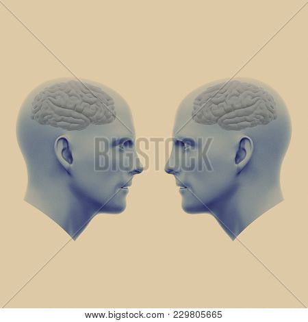 Two Male Heads With Brains Facing Each Other. Minimalistic Abstract Art. Communication Concepts. 3d
