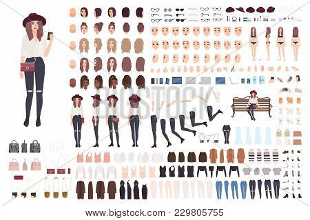 Young Trendy Woman Or Girl Construction Kit Or Creation Set. Bundle Of Various Postures, Hairstyles,
