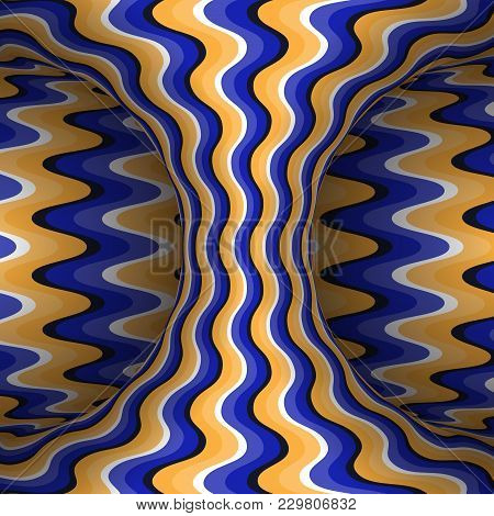 Moving Wavy Patterned Hyperboloid Of Orange Blue Stripes. Vector Optical Illusion Illustration.