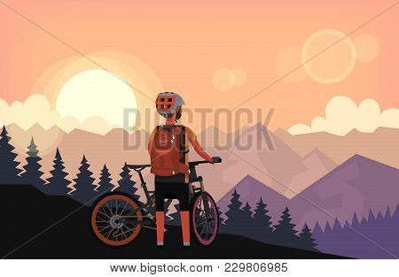 Bike Rider On Top Of The Mountain With Forest On The Hills Is Watching Sunset. Vector Illustration P