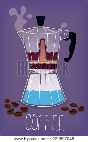 Illustration With Transparent Metal Italian Coffee Maker Showing The Stages Of The Process Of Making