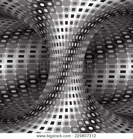 Spiral Patterned Silver Hyperboloid. Vector Optical Illusion Illustration.