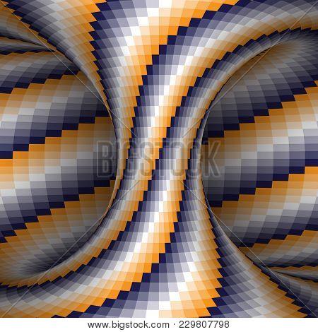 Spiral Patterned Orange Blue White Hyperboloid. Vector Optical Illusion Illustration.