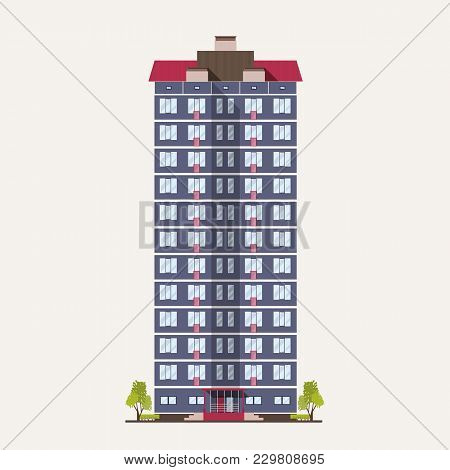 Tall City Panel Building With Many Floors Built In Modern Architectural Style. Multistory Living Hou