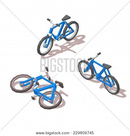 Isometric Blue Bicycle. For Infographics, Site And Games. 3d Vector Illustration. On White Backgroun