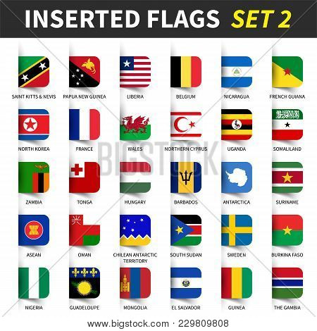 All Flags Of The World Set 2 . Inserted And Floating Sticky Note Design . ( 2/8 ) .
