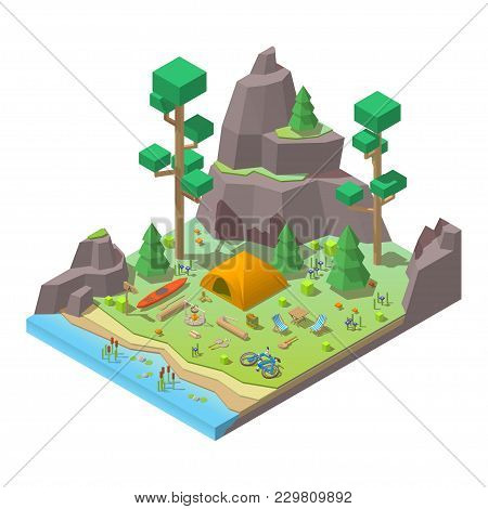 Vector Isometric 3d Low Poly Elements In The Camping Site. Flat Illustration On White Background