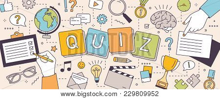 Horizontal Banner With Hands Of People Solving Puzzles Or Brain Teasers And Answering Quiz Questions