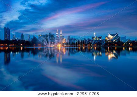 Cityscape Of Kuala Lumpur Panorama At Twilight. Panoramic Image Of Titiwangsa Park At Kuala Lumpur,