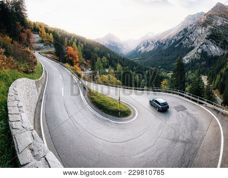 Adventure Trip By Car Along Winding Mountain Alpine Road, Maloja Pass, Switzerland