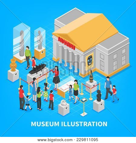 Museum Isometric Composition With Building Outside, Historical Exposition, Visitors Adults And Kids