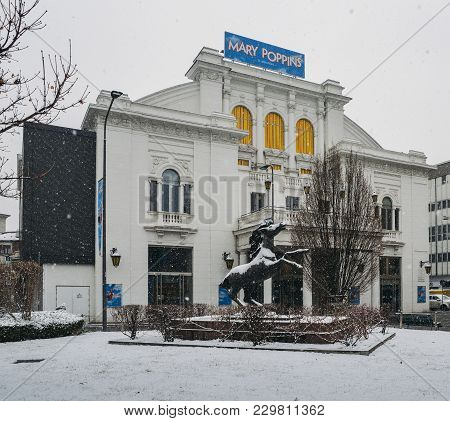 Milan, Italy - Mar 1st, 2018: National Theater, Teatro Nazionale Milan Italy In Winter