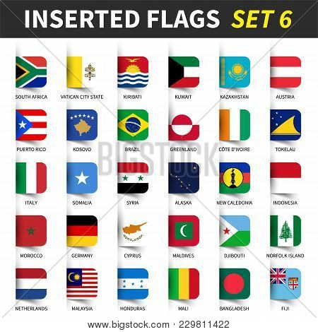 All Flags Of The World Set 6 . Inserted And Floating Sticky Note Design . ( 6/8 ) .
