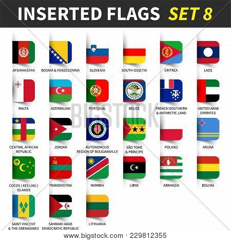 All Flags Of The World Set 8 . Inserted And Floating Sticky Note Design . ( 8/8 ) .