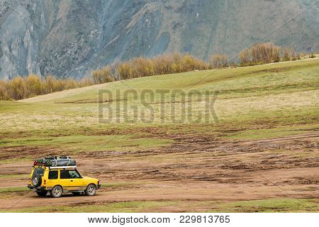 Stepantsminda Gergeti, Georgia - May 23, 2016: Land Rover Discovery Suv Car On Off Road In Spring Mo