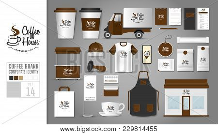 Corporate Identity Template Set 14. Logo Concept For Coffee Shop, Cafe, Restaurant. Realistic Mock U