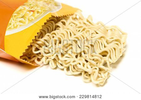 Raw Asian Ramen Instant Noodle Uncooked Isolated On White Background