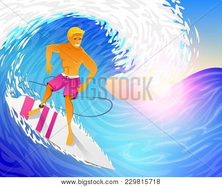 Surfer Riding On Blue Ocean Wave With Surfboard. Muscular Man On Weekends. Happy Young Guy On The Cr