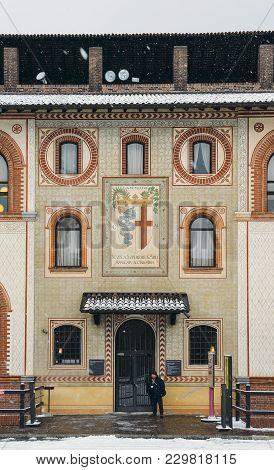 Milan, Italy - Mar 1, 2018: Sforza Castle, Italian: Castello Sforzesco, Is In Milan, Northern Italy.