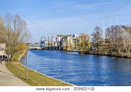 Berlin, Germany - February 23, 2018: City Centre With The German Federal Chancellery And Chancellery
