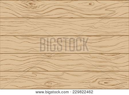 Wooden Background Texture. Color Illustration Of Wooden Boards.  Vertical Slats. Vector Illustration