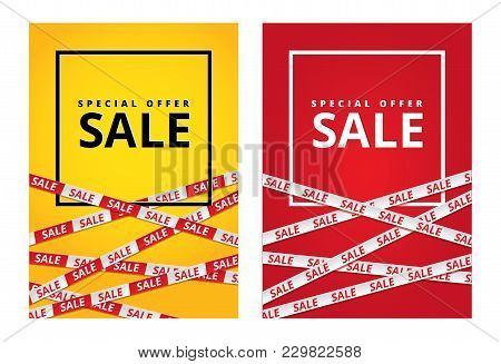 Red Yellow Sale Tape Ribbon Card Background. Special Offer Tape Poster, Low Price Banner, Discount F