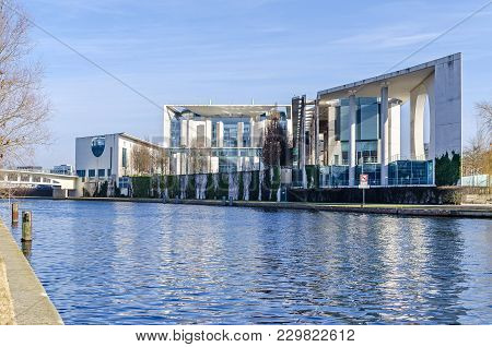 Berlin, Germany - February 23, 2018: The Rear Part Of The German Federal Chancellery ( Bundeskanzler