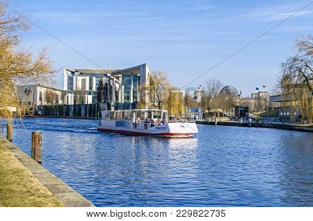 Berlin, Germany - February 23, 2018: City Centre With The German Federal Chancellery, International
