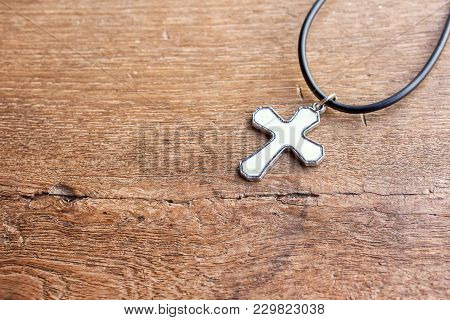 Christian Cross On Wooden Table With Window Light, Christian Concept Jesus Is The Light Of The World